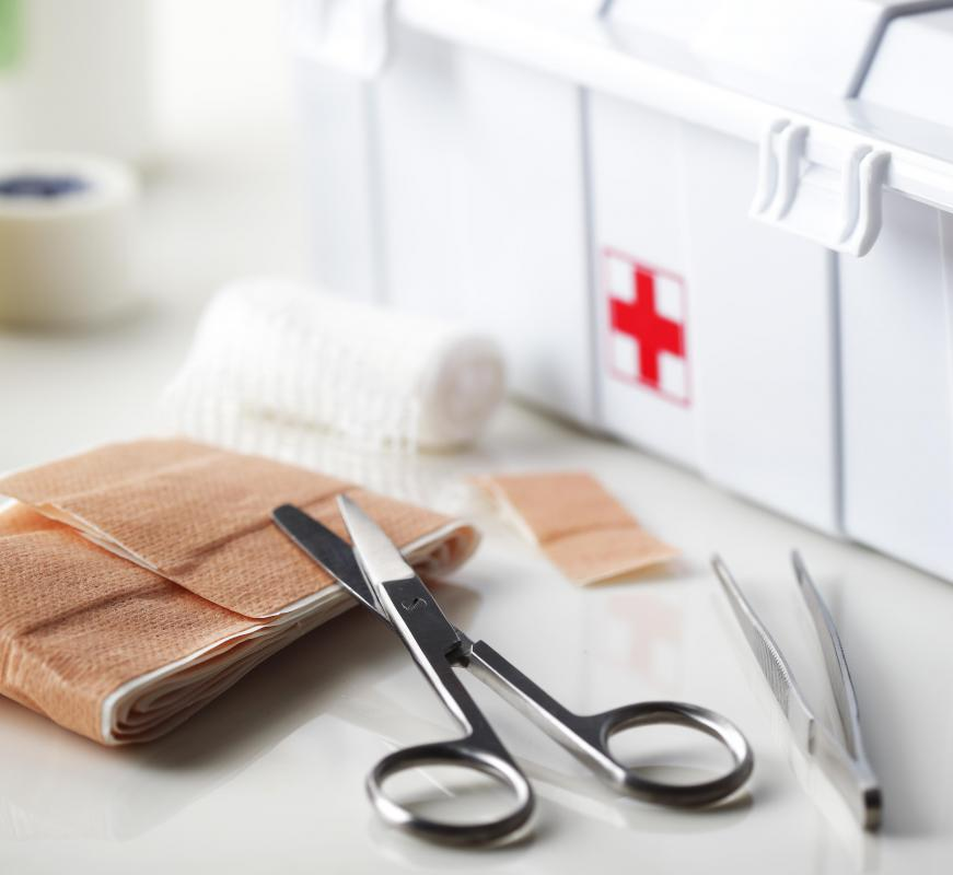 Non-latex gloves might be included as part of a first aid kit.