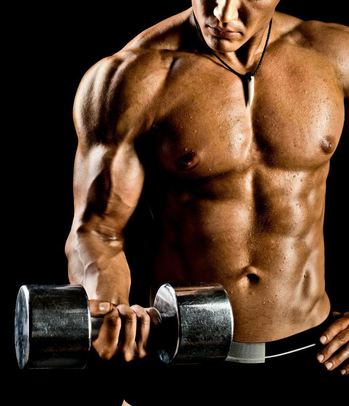 Free weights, including dumbbells, can be used to build strength and muscle mass.