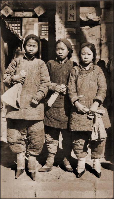 A group of girls with bound feet.