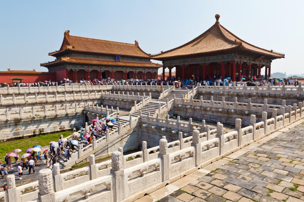 Tourists visiting the Forbidden City in Beijing, China. China is one of the most visited countries in the world, adding billions of US Dollars to the economy.