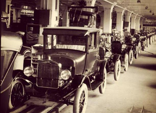 The automobile industry utilized the first assembly line.