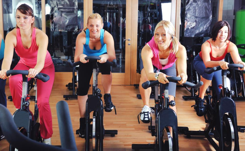 Spinning classes are a common type of exercise class.