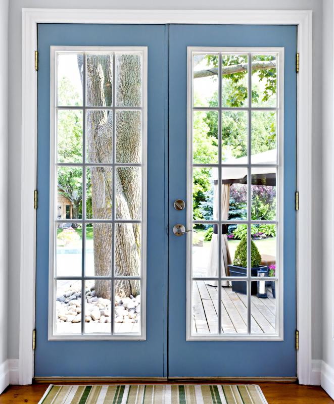 Hinges should be installed on the inside of French doors to eliminate the possibility of removal from the outside.