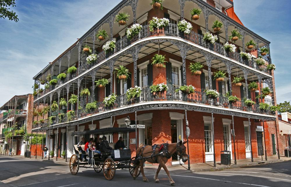 A building in the French Quarter of New Orleans, which has a bohemian community.