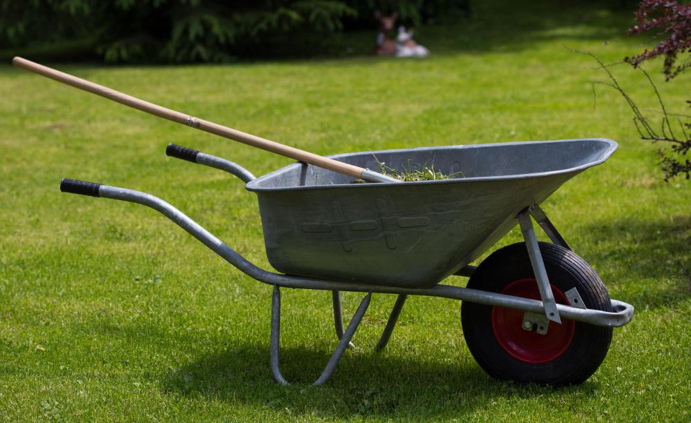 A wheelbarrow is a common garden tool.