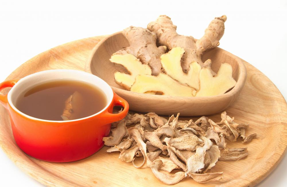 Ginger tea is used to soothe sore throats, as well as treat stomach upset.