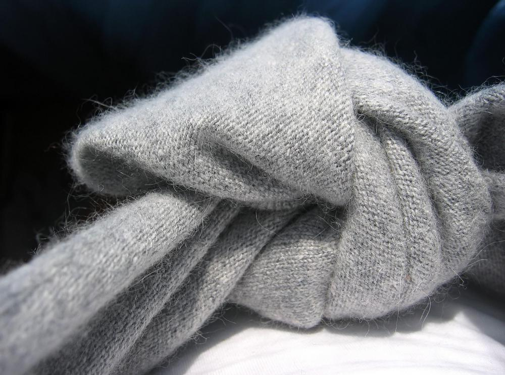 A sweater made with angora yarn.