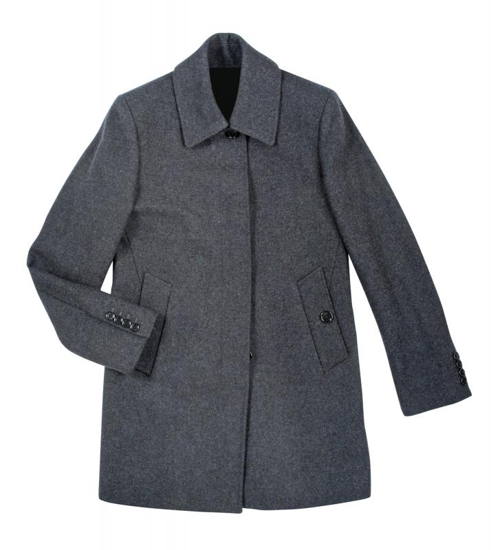 A-line style, flat front, and mid length are distinguishing features for a car coat.