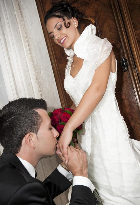 Public displays of affection are expected from a bride and groom on their wedding day.
