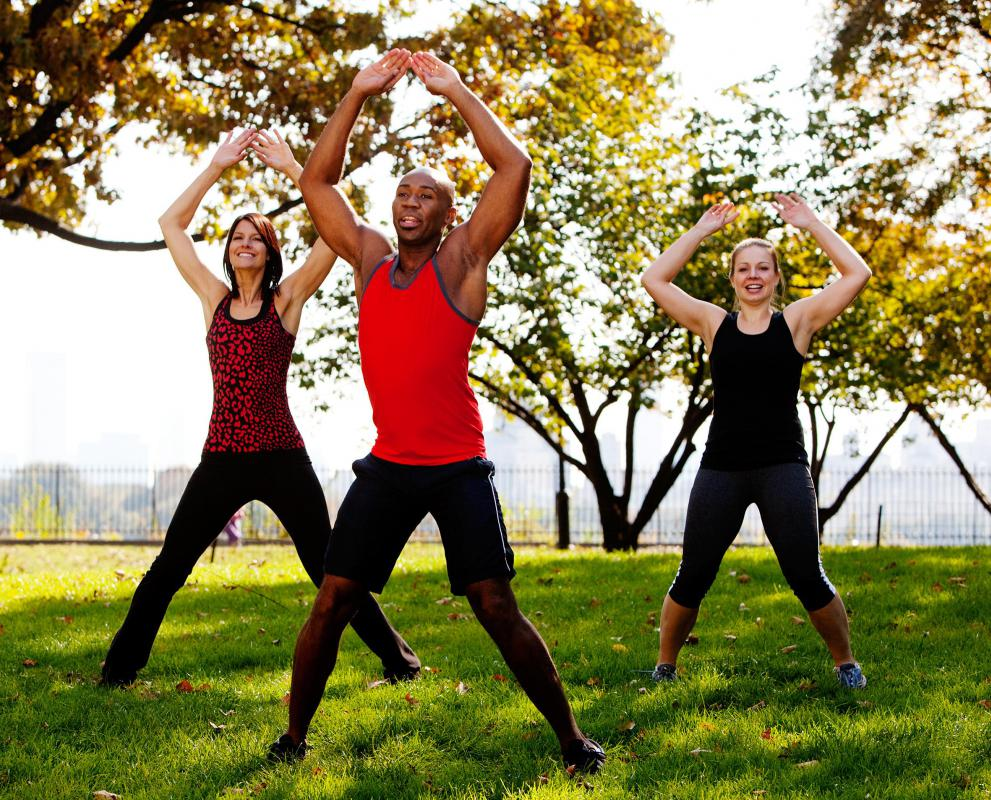 Jumping jacks are a high impact basic aerobics step.