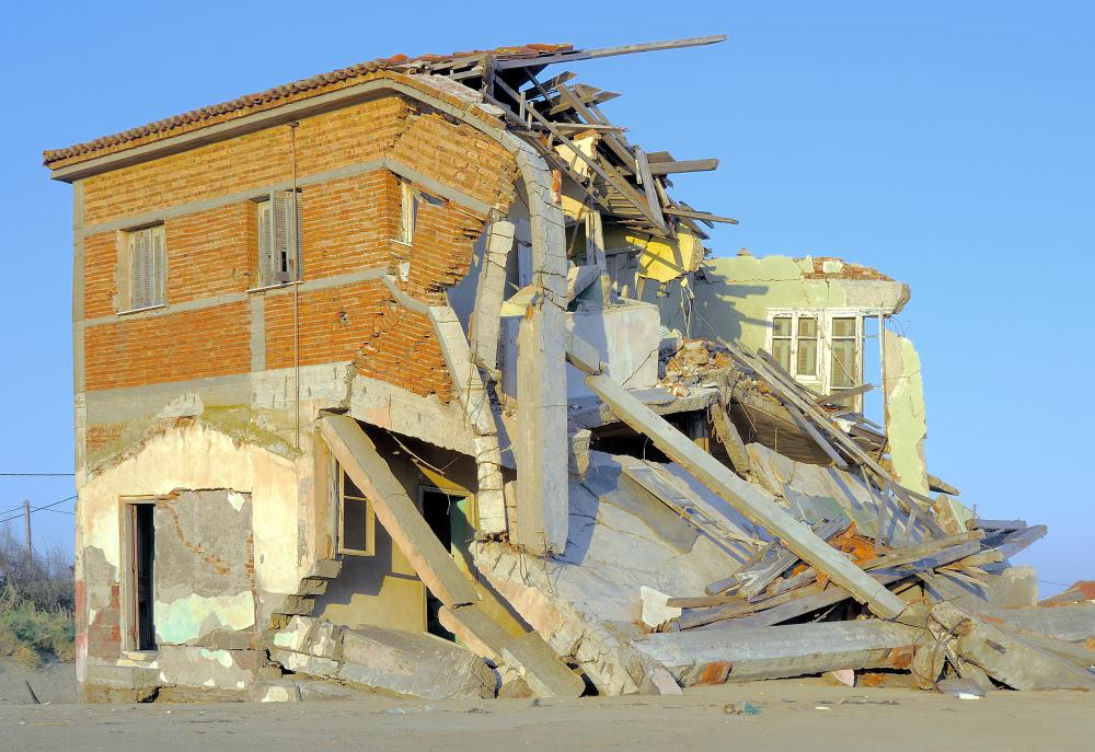 A home destroyed by an earthquake must often be demolished.