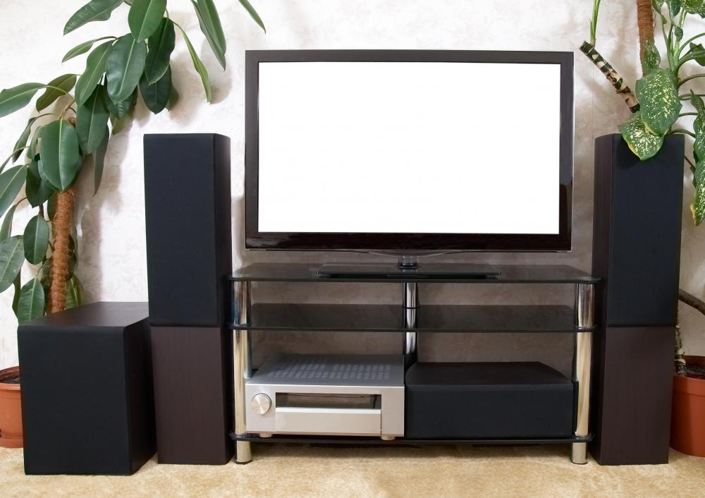 A home theater includes video and audio components.