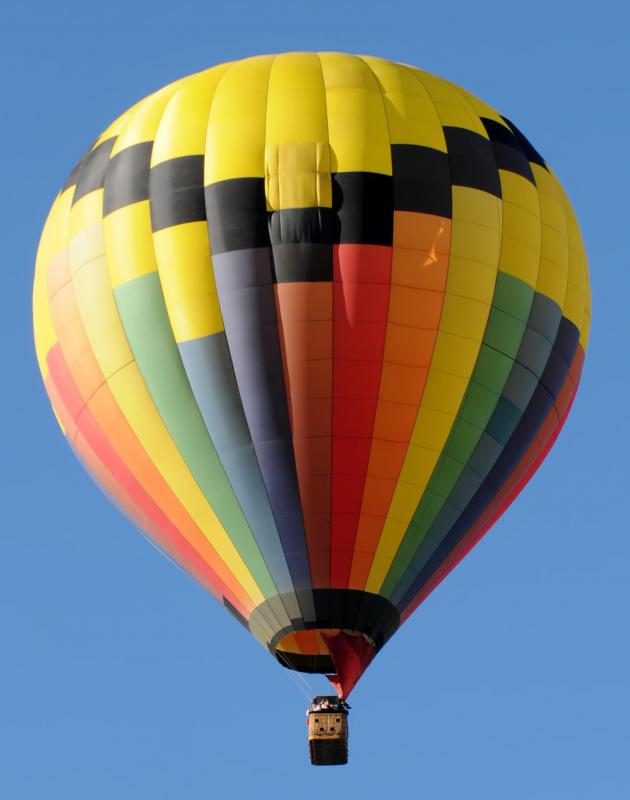 A colorful, modern hot air balloon.
