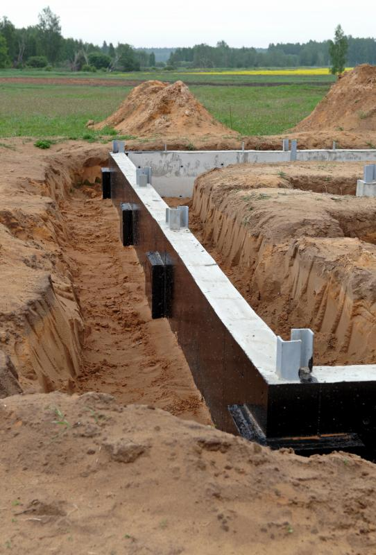 Soil may be backfilled against the concrete foundations of buildings for support.