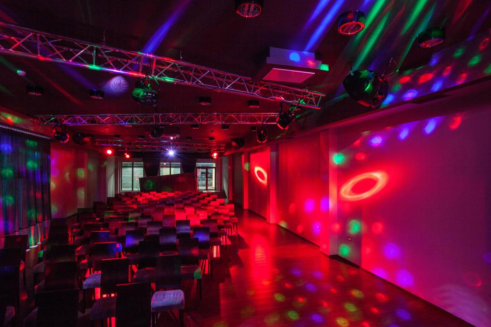 Neon lighting can be used indoors for artistic or atmospheric effect.