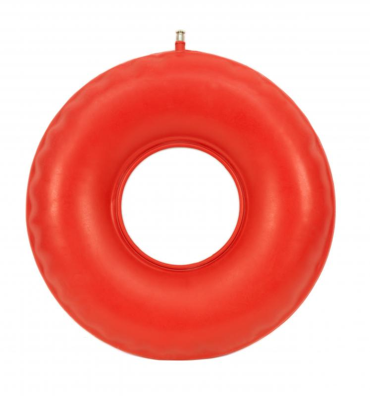 An inflatable 'doughnut' can bring relief to someone with chronic hemorrhoids.