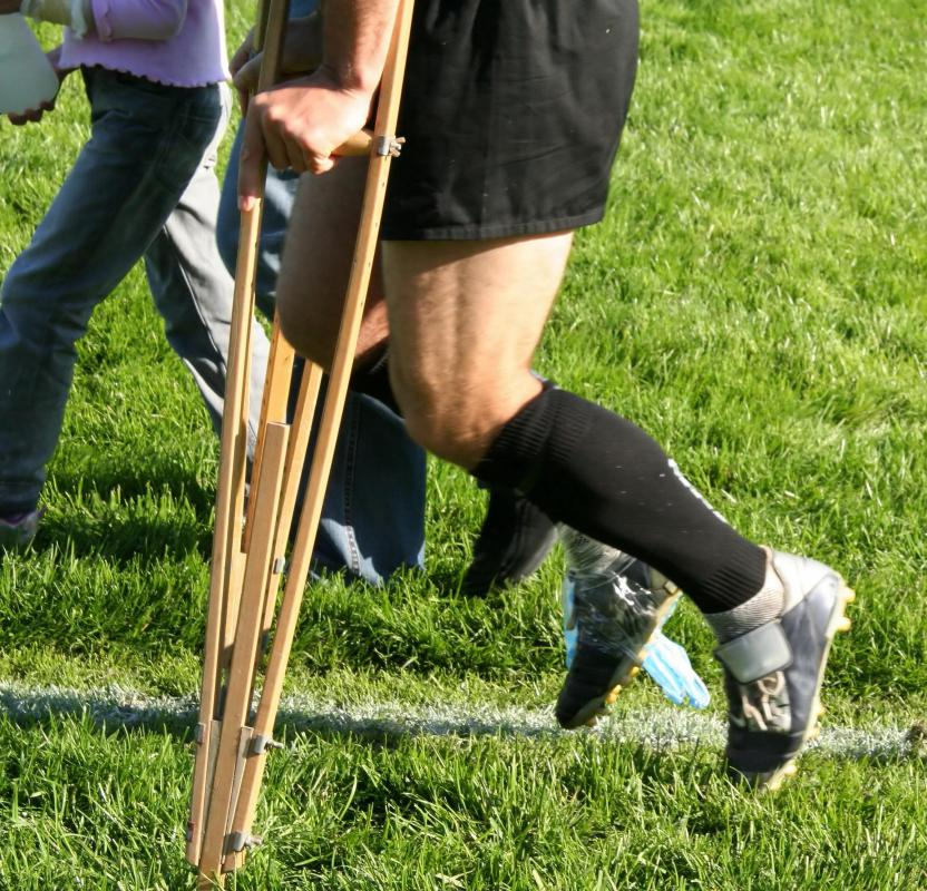 Orthopedists may recommend the used of crutches during the recovery of a sports injury.