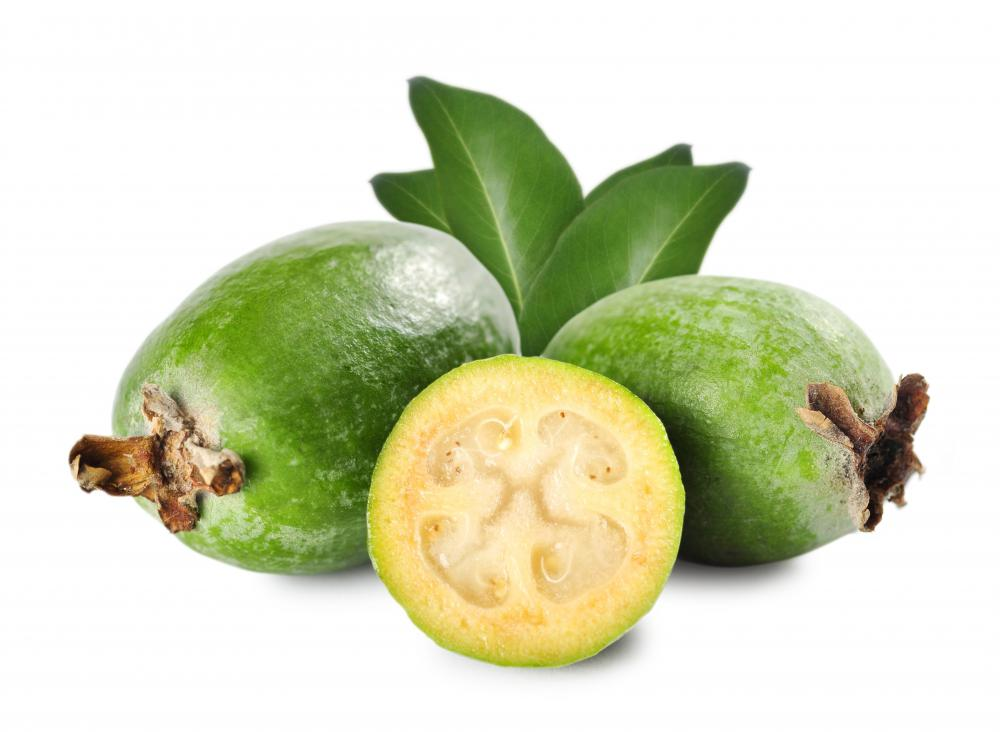 The pulp of guava is pale yellow to pink, depending on the variety.