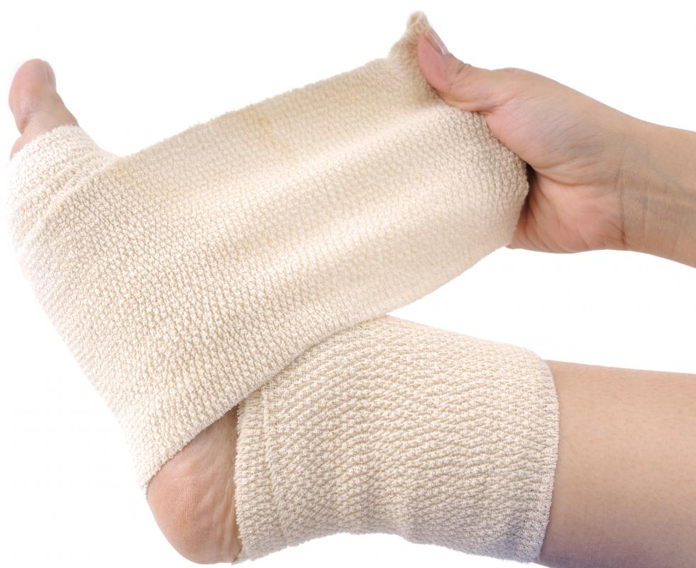 Sprained ankles should be compressed with an elastic bandage.