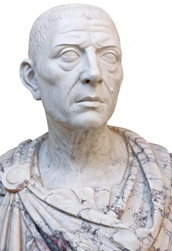 An ancient statue of Julius Caesar, dictator of Rome from 49 BCE to 44 BCE.