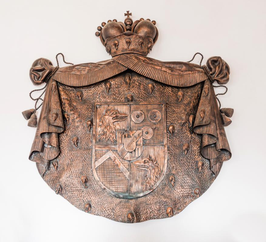 A coat of arms symbol was often displayed on a knight's shield.