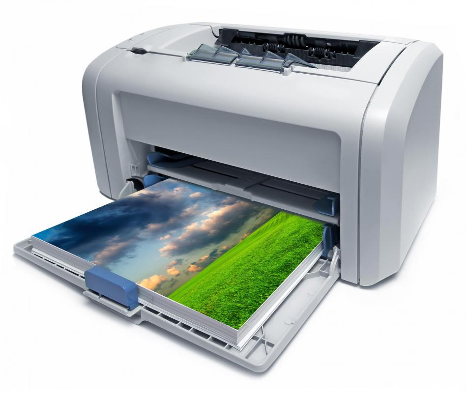 A laser printer just after printing images.