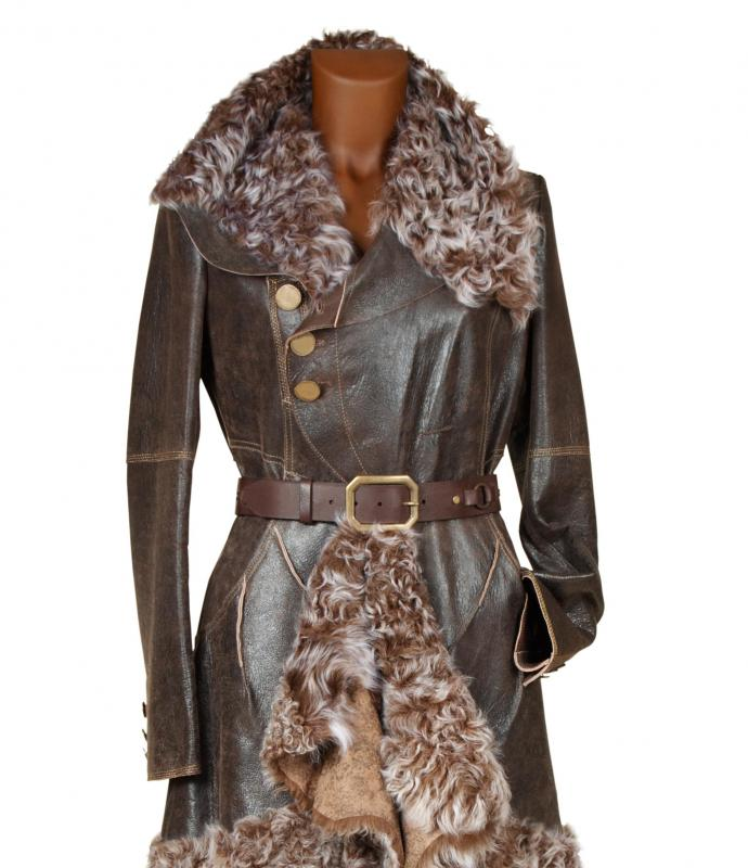 Coats and jackets may be sold with pre-distressed leather.