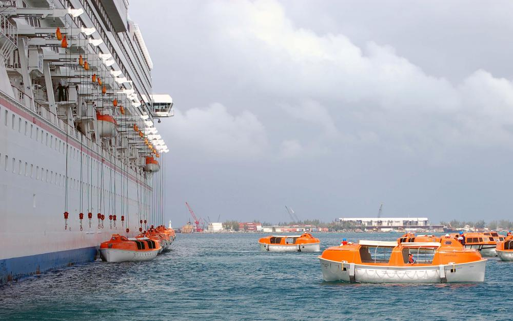 Cruise ships are equipped with lifeboats as part of contingency planning.