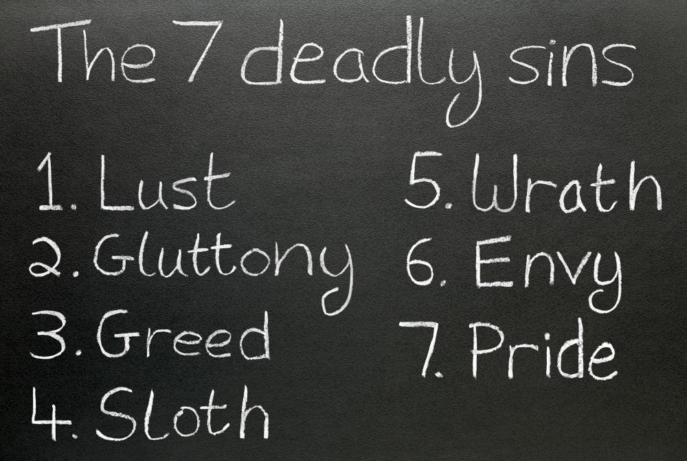 Morality plays often focus on the seven deadly sins.