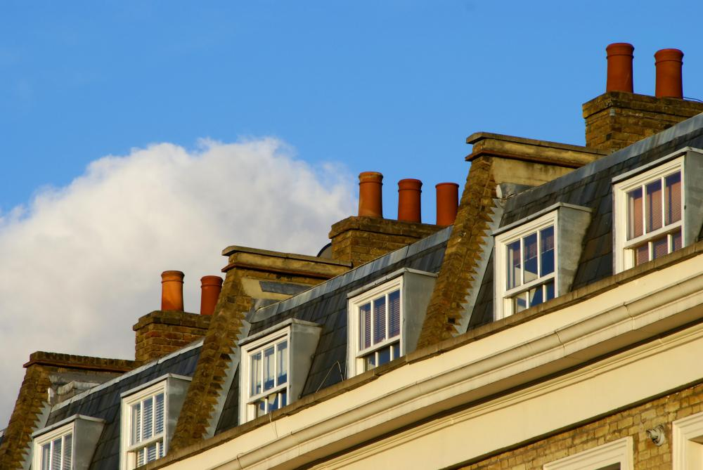 Parapets on London rooftops.