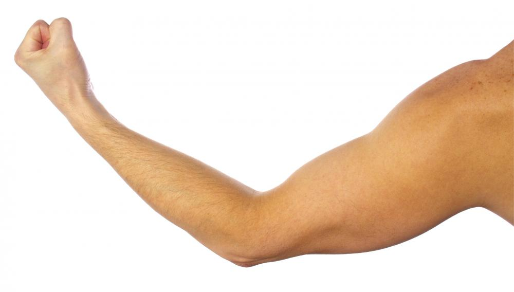 Elbow flexion occurs when the arm is bent at the elbow and the forearm and upper arm come together.