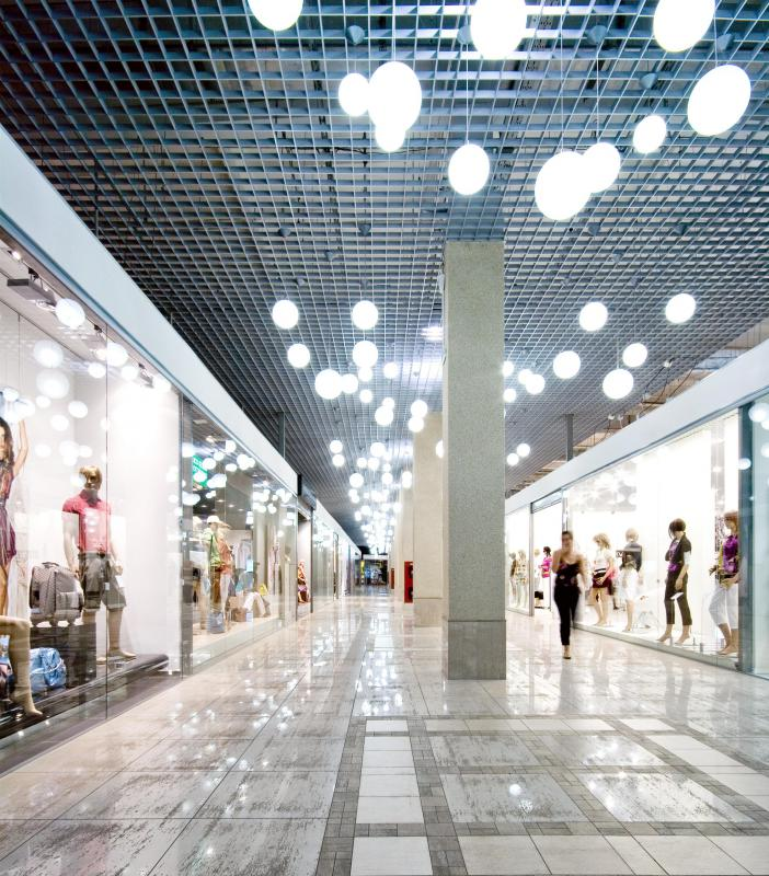 Enclosed shopping malls offer a climate-controlled shopping experience.
