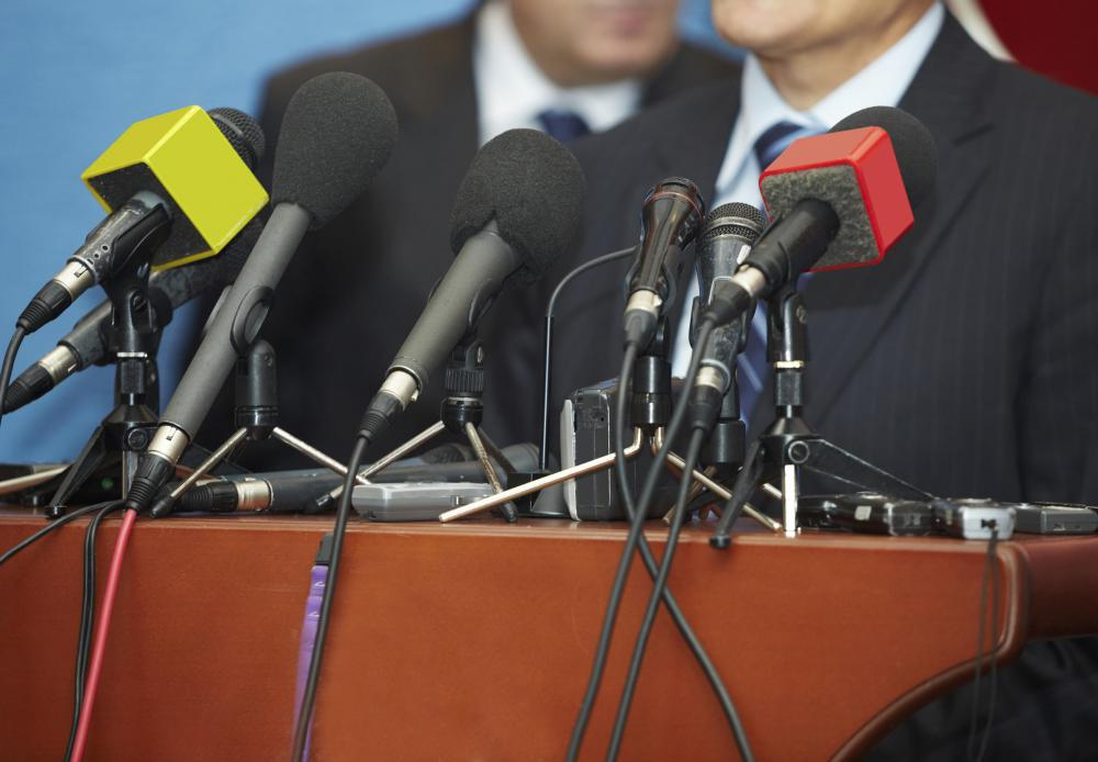 A press release may be followed by a controlled press conference where reporters are able to ask direct questions.