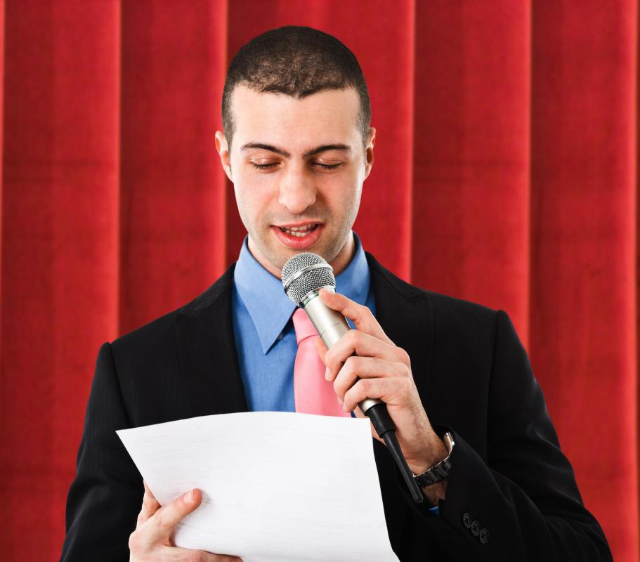A person may be encouraged to speak in a stentorian voice when announcing winners.