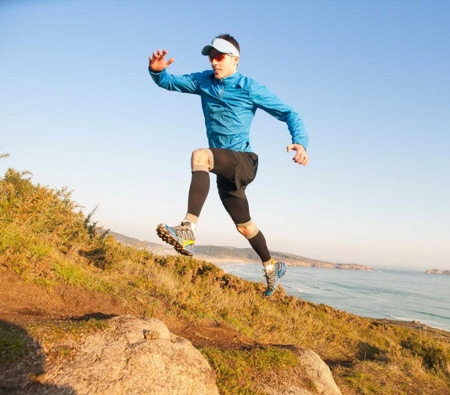 Long distance running may involve uphill and downhill jogs.