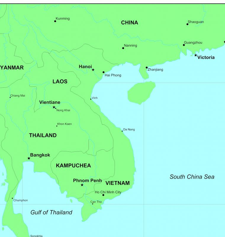 Map of South East Asia.