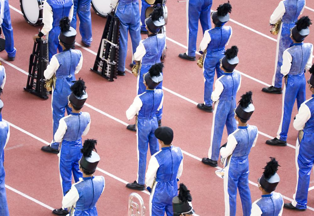 Marching band music can vary and depend on the type of marching band.
