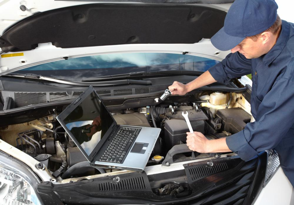 Auto diagnostics software interfaces with a car's computer.