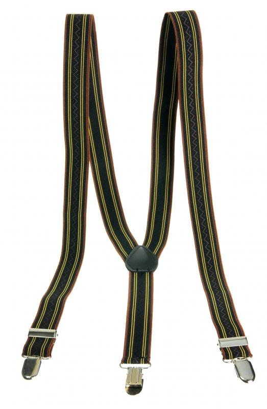 Suspenders are made out of elastic materials, and are designed to conform to a person's figure to hold up pants.