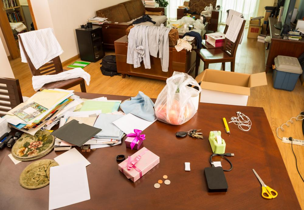 A hoarder typically surrounds themselves with clutter.