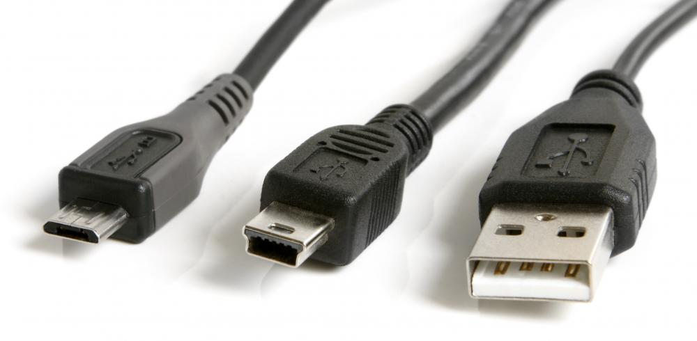 A variety of USB cables.