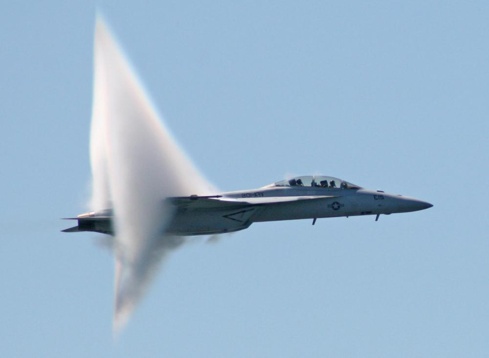 A jet breaking the sound barrier.