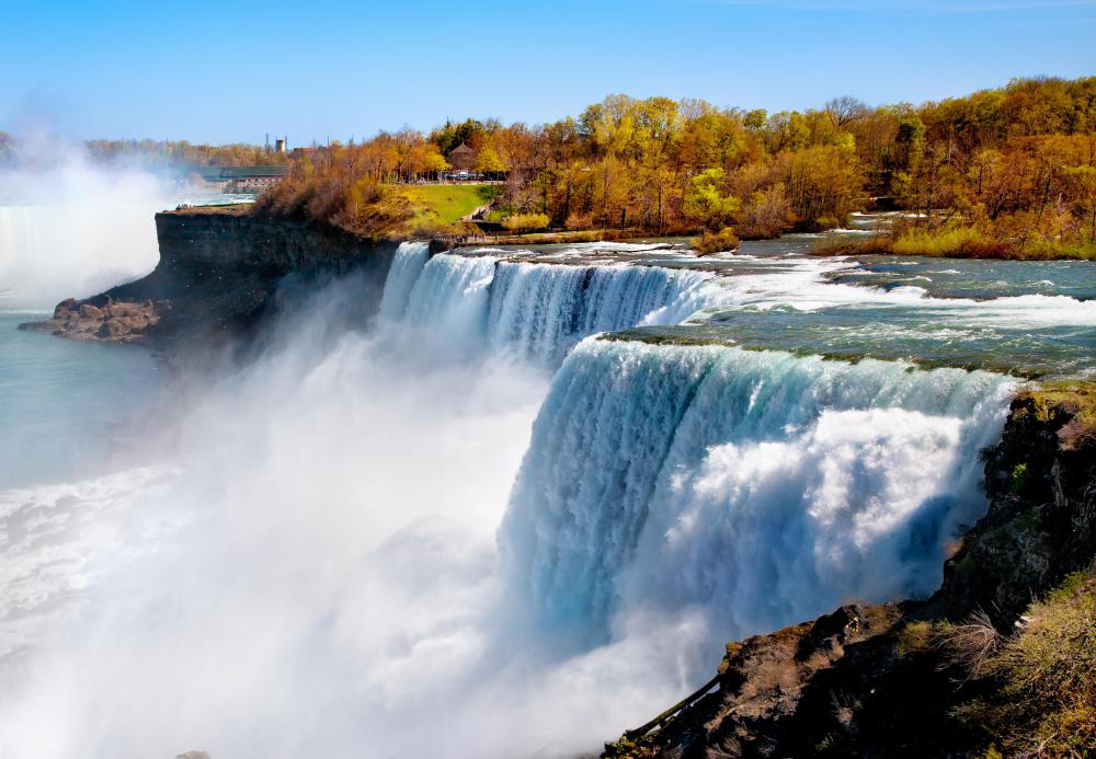 Niagara Falls has less than 50 acres of water falling at its peak.