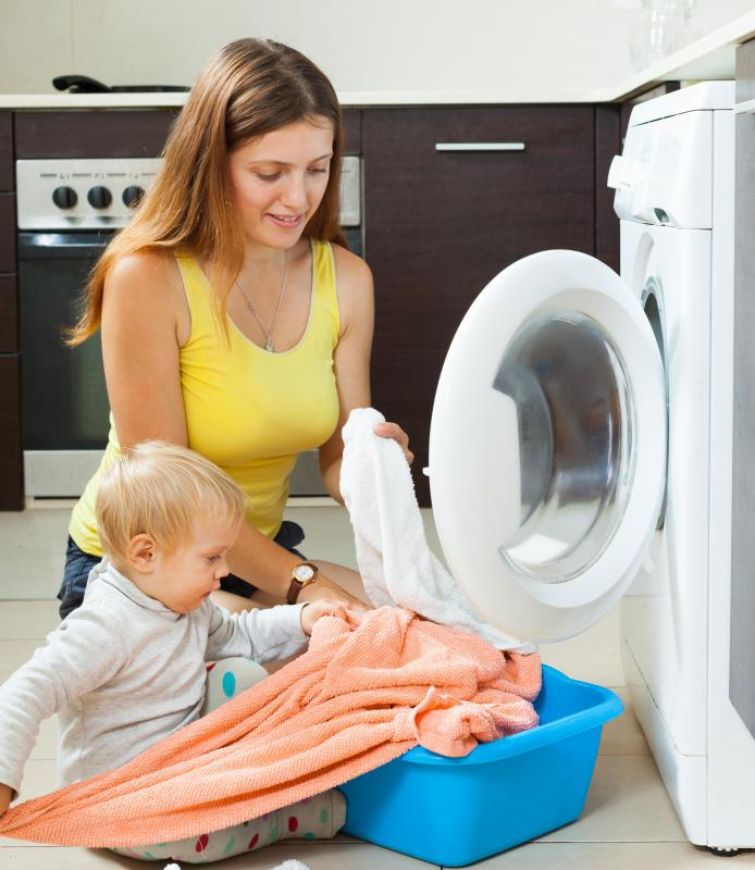 Environmental factors that might cause puffiness in a baby's eyes include laundry soaps and other household cleaners.