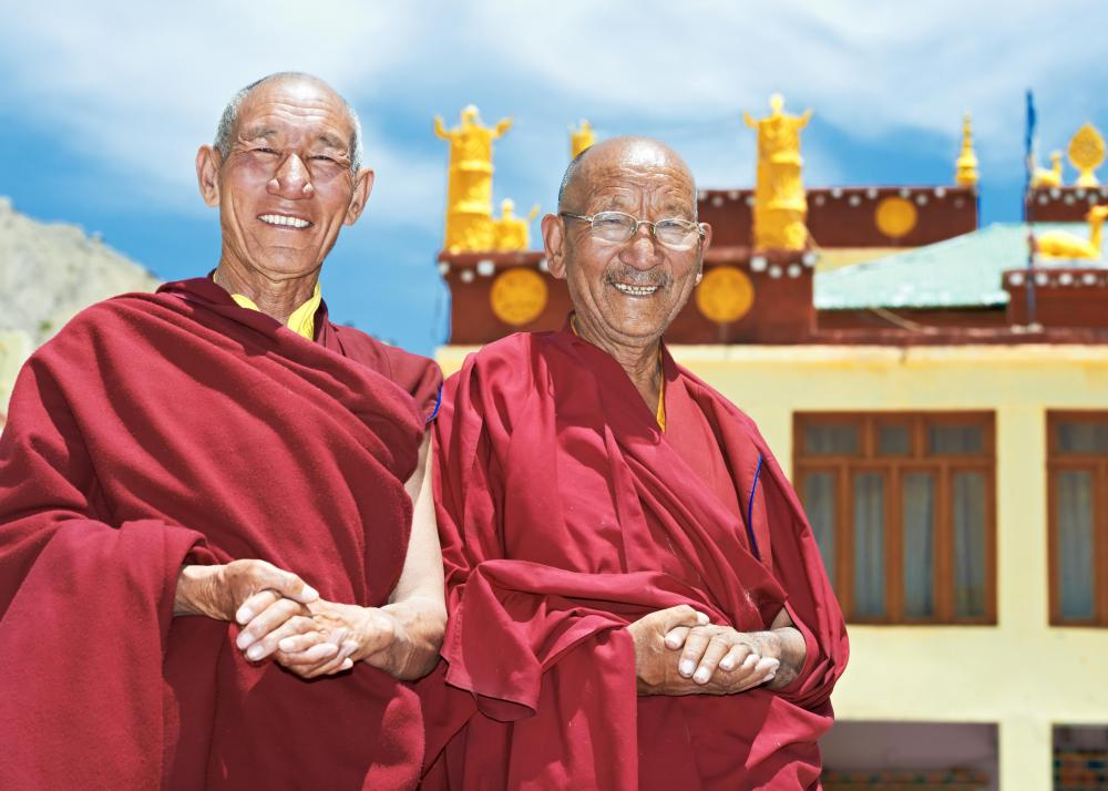 Monks dedicate their lives to religious service and are found in several religions.