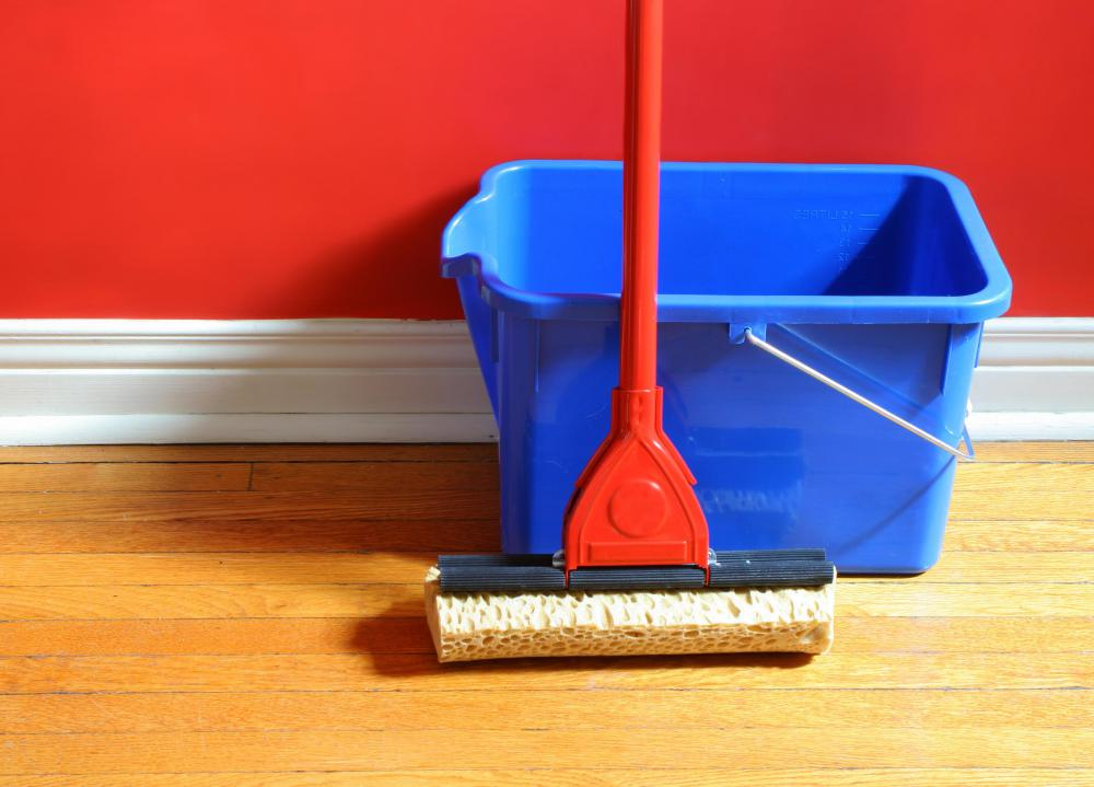 A damp mop is a great way to clean a hardwood floor.
