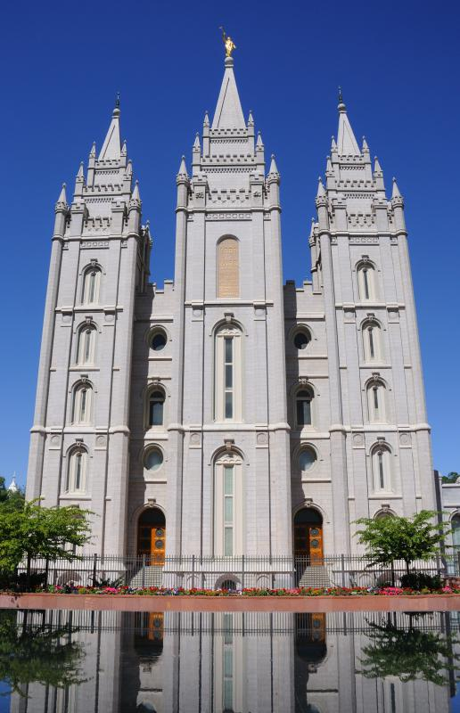 The Salt Lake Temple, a Mormon temple in Salt Lake City, Utah.