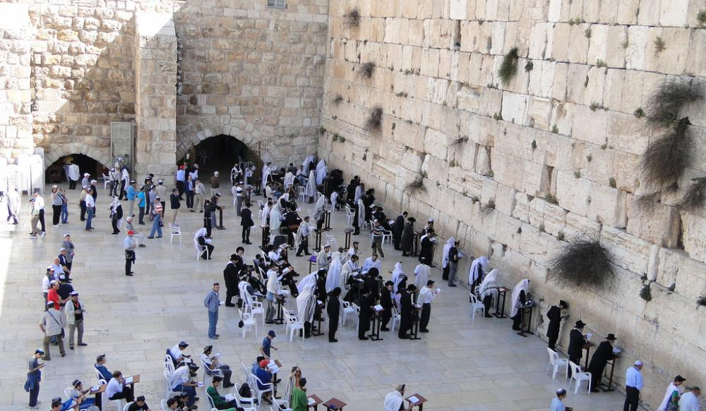 Morning prayers at the Western Wall in Jerusalem.