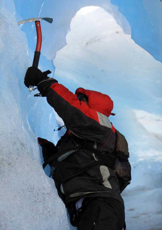 Mountaineering in cold climates requires special equipment like ice axes.