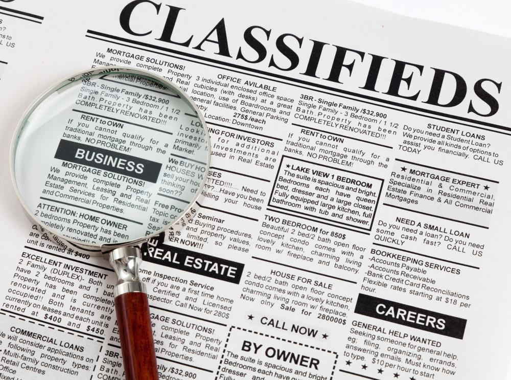 A frugalist may often peruse the classifieds in a newspaper.